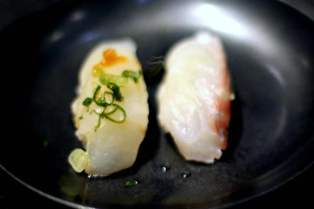 Sushi Sasabune - Snapper and Halibut nigiri